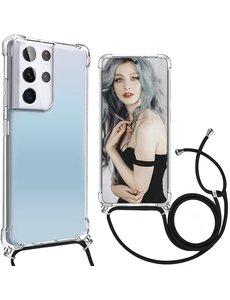 Ntech Samsung S21 Ultra Hoesje met draagkoord transparant- Samsung Galaxy S21 Ultra TPU backcover met koord - Zwart