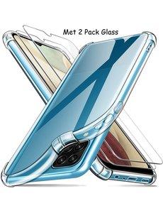 Ntech Samsung A12 Hoesje Anti Shock - Samsung Galaxy A12 Backcover hoesje + 2x Glazen Screenprotector