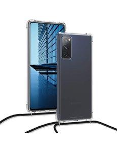 Ntech Samsung S20 FE Hoesje transparant met draagkoord - Samsung Galaxy S20 FE TPU Bakcover hoesje met Koord - Zwart