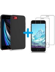 Ntech iPhone SE 2020 Hoesje backcover - iPhone 7/8 Hoesje Nano siliconen  TPU backcover – Zwart met 2 Pack Screenprotector