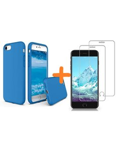 Ntech iPhone SE 2020 Hoesje backcover - iPhone 7/8 Hoesje Nano siliconen  TPU backcover – Turquoise met 2 Pack Screenprotector