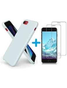 Ntech iPhone SE 2020 Hoesje backcover - iPhone 7/8 Hoesje Nano siliconen  TPU backcover – Licht Blauw met 2 Pack Screenprotector