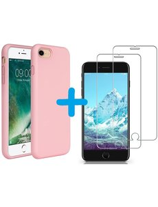 Ntech iPhone SE 2020 Hoesje backcover - iPhone 7/8 Hoesje Nano siliconen  TPU backcover – Licht Rose met 2 Pack Screenprotector