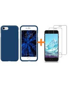 Ntech iPhone SE 2020 Hoesje backcover - iPhone 7/8 Hoesje Nano siliconen  TPU backcover - Navy met 2 Pack Screenprotector