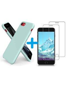 Ntech iPhone SE 2020 Hoesje backcover - iPhone 7/8 Hoesje Nano siliconen  TPU backcover - Mint Groen met 2 Pack Screenprotector