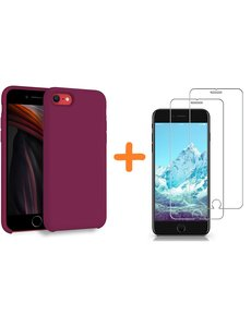 Ntech iPhone SE 2020 Hoesje backcover - iPhone 7/8 Hoesje Nano siliconen  TPU backcover - Wijnrood met 2 Pack Screenprotector