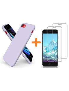 Ntech 2 Pack Screenprotector / tempered glass iPhone SE 2020 Hoesje backcover - iPhone 7/8 Hoesje Nano siliconen  TPU backcover - Lila met 2 Pack Screenprotector