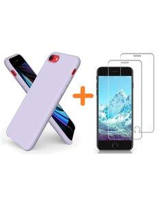 Ntech iPhone SE 2020 Hoesje backcover - iPhone 7/8 Hoesje Nano siliconen TPU backcover - Lila met 2 Pack Screenprotector