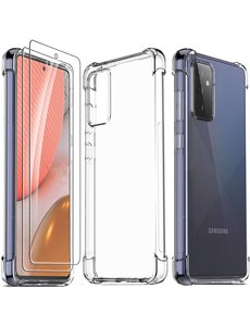 Ntech Samsung Galaxy A72 hoesje ShockProof Backcover anti Shock Cover + 2x Glazen Screenprotector / tempered glass