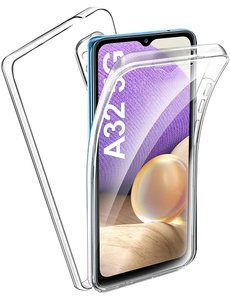 Ntech Samsung Galaxy A32 5G Dual TPU Case hoesje 360° Cover 2 in 1 Case ( Voor en Achter) Transparant