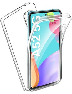 Ntech Samsung Galaxy A52 Hoesje Dual TPU Case 360° Cover 2 in 1 Case ( Voor en Achter) Transparant
