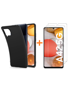 Ntech Samsung 42 Hoesje Zwart siliconen backcover TPU Backcover met Samsung Galaxy A42 5G met 2 Pack Screenprotector Glazen tempered glass
