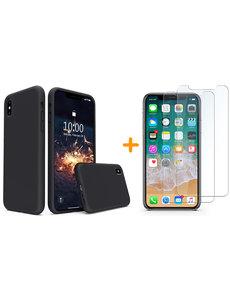 Ntech iPhone Xr Hoesje - iPhone Xr Zwart Liquid siliconen Hoesje Nano TPU backcover - met 2 Pack Screenprotector / tempered glass