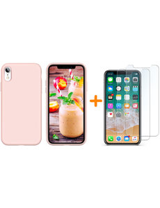 Ntech iPhone Xr Hoesje - iPhone Xr Licht Rose Liquid siliconen Hoesje Nano TPU backcover - met 2 Pack Screenprotector / tempered glass