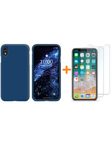 Ntech iPhone Xr Hoesje - iPhone Xr Navy Liquid siliconen Hoesje Nano TPU backcover - met 2 Pack Screenprotector / tempered glass