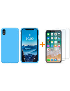 Ntech iPhone Xr Hoesje - iPhone Xr Turquoise Liquid siliconen Hoesje Nano TPU backcover - met 2 Pack Screenprotector / tempered glass