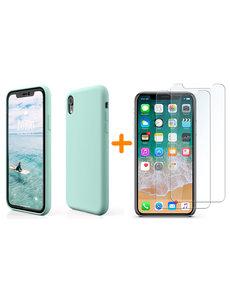 Ntech iPhone Xr Hoesje - iPhone Xr Mint Groen Liquid siliconen Hoesje Nano TPU backcover - met 2 Pack Screenprotector / tempered glass