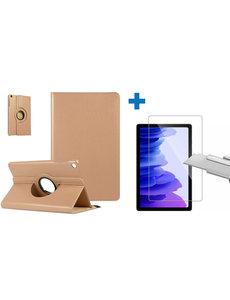 Ntech Samsung Galaxy Tab A7 Hoes - 360 graden draaibaar case Goud + screenprotector gehard glas