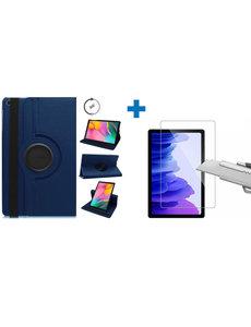 Ntech Samsung Galaxy Tab A7 Hoes - 360 graden draaibaar case Donkerblauw + screenprotector gehard glas