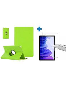 Ntech Samsung Galaxy Tab A7 Hoes - 360 graden draaibaar case Groen + screenprotector gehard glas