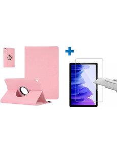 Ntech Samsung Galaxy Tab A7 Hoes - 360 graden draaibaar case Licht Roze + screenprotector gehard glas