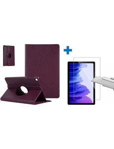 Ntech Samsung Galaxy Tab A7 Hoes - 360 graden draaibaar case Paars + screenprotector gehard glas
