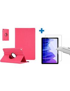 Ntech Samsung Galaxy Tab A7 Hoes - 360 graden draaibaar case Pink + screenprotector gehard glas