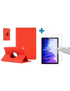 Ntech Samsung Galaxy Tab A7 Hoes - 360 graden draaibaar case Rood + screenprotector gehard glas