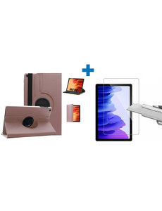 Ntech Samsung Galaxy Tab A7 Hoes - 360 graden draaibaar case Rose Goud + screenprotector gehard glas