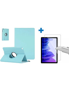 Ntech Samsung Galaxy Tab A7 Hoes - 360 graden draaibaar case Licht Blauw + screenprotector gehard glas