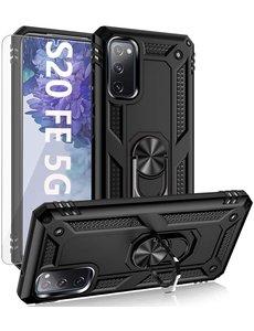 Ntech Samsung S20 FE Hoesje Armor case Ring houder / vinger houder TPU backcover - Zwart met 2 pack screenprotector
