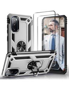 Ntech Samsung S20 FE Hoesje Armor case Ring houder / vinger houder TPU backcover - Zilver met 2 pack screenprotector