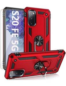 Ntech Samsung S20 FE Hoesje Armor case Ring houder / vinger houder TPU backcover - Rood met 2 pack screenprotector
