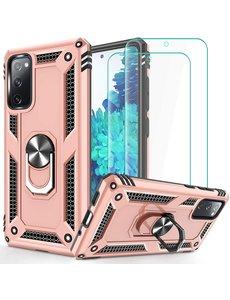 Ntech Samsung S20 FE Hoesje Armor case Ring houder / vinger houder TPU backcover - Rose Goud met 2 pack screenprotector