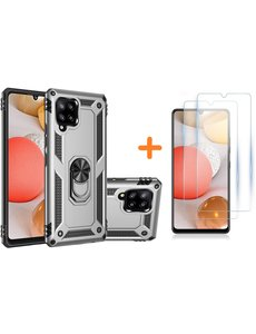 Ntech Samsung Galaxy A42 5G Hoesje Armor case Ring houder TPU backcover - Zilver met 2 pack screenprotector