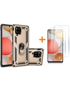 Ntech Samsung Galaxy A42 5G Hoesje Armor case Ring houder TPU backcover - Goud met 2 pack screenprotector