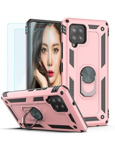 Ntech Samsung Galaxy A42 5G Hoesje Armor case Ring houder TPU backcover - Rose Goud met 2 pack screenprotector