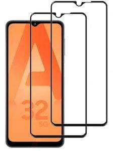 Ntech Samsung A32 5G Full Cover 2 Pack Screenprotector / tempered glazen Zwart