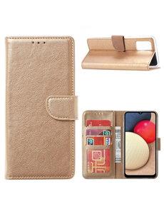 Ntech Samsung Galaxy A02s Hoesje - Samsung A02s bookcase wallet case - Goud