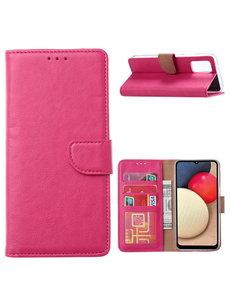 Ntech Samsung Galaxy A02s Hoesje - Samsung A02s bookcase wallet case - Pink