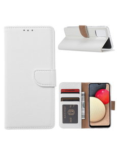 Ntech Samsung Galaxy A02s Hoesje - Samsung A02s bookcase wallet case - Wit