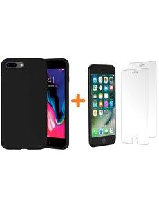 Ntech iPhone 7 Plus / iPhone 8 Plus Hoesje - Liquid siliconen Hoesje Nano Zwart case Hoesje TPU backcover - met Apple iPhone 8 Plus / 7 Plus Screenprotector 2 stuks tempered glass