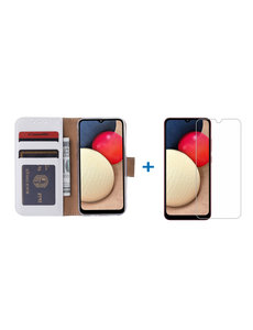 Ntech Samsung Galaxy A02s Hoesje bookcase - Wit met Samsung A02s screenprotector