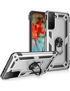 Ntech Samsung S21 Hoesje - Samsung Galaxy S21 armor case Ring houder TPU backcover met Ring houder / Ring vinger houder / standaard - Zilver