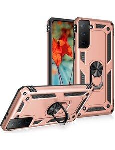 Ntech Samsung S21 Hoesje - Samsung Galaxy S21 armor case Ring houder TPU backcover met Ring houder / Ring vinger houder / standaard - Rose Goud
