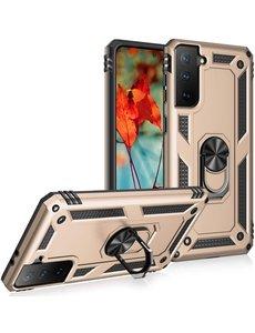 Ntech Samsung S21 Hoesje - Samsung Galaxy S21 armor case Ring houder TPU backcover met Ring houder / Ring vinger houder / standaard - Goud