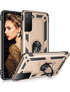 Ntech Samsung S21 Plus Hoesje - Samsung Galaxy S21 Plus armor case met Ring houder / Ring vinger houder / standaard - Goud