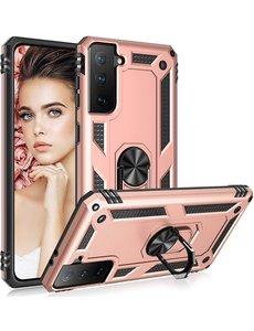Ntech Samsung S21 Plus Hoesje - Samsung Galaxy S21 Plus armor case met Ring houder / Ring vinger houder / standaard - Rose Goud