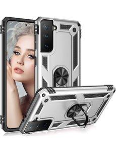 Ntech Samsung S21 Plus Hoesje - Samsung Galaxy S21 Plus armor case met Ring houder / Ring vinger houder / standaard - Zilver
