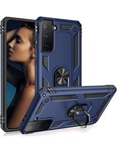 Ntech Samsung S21 Plus Hoesje - Samsung Galaxy S21 Plus armor case met Ring houder / Ring vinger houder / standaard - Blauw